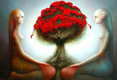 Painting by Michel Ogier Paul Jackson, Poetry Art, Red Tree, French Artists, Tree Of Life, Creative Inspiration, Artsy Fartsy, Art Pictures, Surrealism