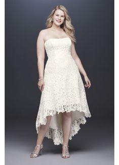 High-Low Tea-Length Lace Plus Size Wedding Dress 9WG3925