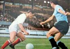 Uruguay 2 France 1 in 1966 at White City. Yves Herbert wrong foots a defender in Group 1 at the World Cup Finals. 1966 World Cup Final, White City, France 1, Finals, Running, Group, My Love, Sports, Plays