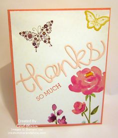 Painted Petals thank you card with Stampin' Up! Hello You thinlit die and Papillon Potpourri butterflies.