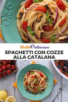 Gli SPAGHETTI CON COZZE ALLA CATALANA sono un primo piatto leggero e saporito che si prepara con cozze, pomodorini e cipolle rosse.  Facile e veloce!  #giallozafferano #spaghetti #pasta #primi #primipiatti #primifacili #primiveloci #cozze #mussel #seafood #ricettefacili #easyrecipes  [Easy and quick Pasta with mussels, tomatoes and oninon] Spaghetti, Food And Drink, Number, Cooking, Ethnic Recipes, Easy, Kitchen, Noodle, Brewing