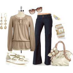 A fashion look from August 2012 featuring Jones New York blouses, Annie Fensterstock earrings and Ten Thousand Things rings. Browse and shop related looks.