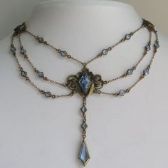 Antique Art Nouveau Blue Topaz Glass Paste Festoon Dangle Swag Necklace