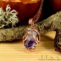 Amethyst Crystal Point Necklace Antiqued Copper Wire Wrapped Rough Gemstone #MBAHandmade #Wrap