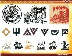 Monster Hunter illustrations Monster Hunter Series, Monster Hunter Art, Game Design, Logo Design, Hunter Logo, Environment Concept Art, Video Game Art, Signs, Pattern Art