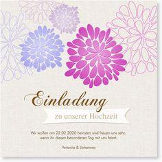 Wie ein Feuerwerk wirken diese Blüten, die auf der Hochzeitkarte Blühend in Lila den Betrachter erfreuen. Durch die modernen Formen, freundlichen Farben und die vielen Text- und Bildfelder im Inneren der Karte ist diese Hochzeitseinladung genau richtig für alle, die das Besondere suchen.