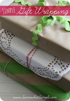 I am in LOVE with these simple gift wrap ideas from SomewhatSimple!