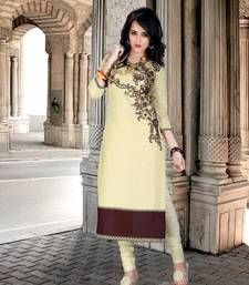 Buy Attractive Ivory Colored Embroidered Cotton  Kurti kurtas-and-kurti online