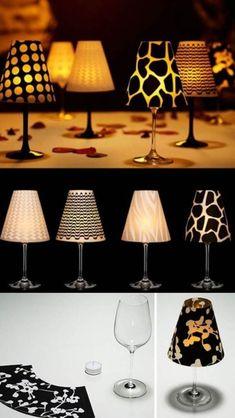 Deko-Kerzenhalter selber machen, Bastelidee mit Dekopapier, Mini Lampe, Lampenschirm basteln mit Weingläsern #LampBasteln