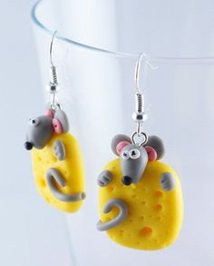 MOUSE on cheese polymer clay earrings plus FREE GIFT by kingaer, $4.90