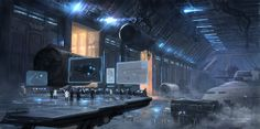 Ship hangar, research, industrial, better part of the city