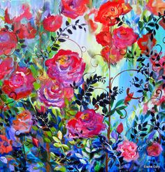 In a Rose Garden  is an original painting done by me Elaine Cory. It is on a gallery wrapped canvas 36 x 36 x 3/4. The sides are painted like