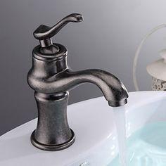 Antik Silber-Finish Centerset Einhand Ein Loch Messing Waschbecken Wasserhahn
