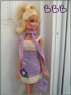 Barbie Clothes Crochet Cream Lavender Spaghetti Strap Dress Matching Scarf Purse. $9.00, via Etsy.