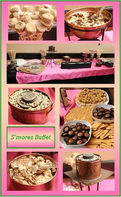 S'mores buffet in pink:  Copper and wrought iron containers were used to hold s'more flavored trail mix & rice cakes and black painted sternos set in pea gravel.  An assortment of chocolates, marshmallows and graham crackers were set white platters and bowls.