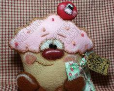 E-Pattern - Sugar Rush Cupcake and Bing Cherry Pattern - Primitive Doll/Ornie E-Pattern - Engli Bing Cherries, Primitive Doll Patterns, Sugar Rush, Felt Crafts, Wool Felt, Fiber Art, Christmas Ornaments, Christmas Art, Xmas