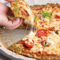 Healthy Pizza Recipes, Healthy Cooking, Low Carb Recipes, Healthy Pizza Dough, Cauliflower Pizza Dough, Healthy Snacks, Vegetarian Recipes, Healthy Eating, Cooking Recipes