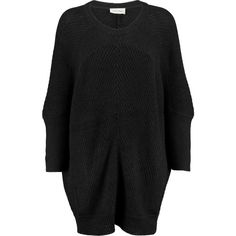American Vintage Lubbork oversized ribbed-knit sweater ($118) ❤ liked on Polyvore featuring tops, sweaters, dresses, black, american vintage, rib knit sweater, bat sleeve tops, over sized sweaters and ribbed knit top