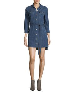 Trucker+Long-Sleeve+Button-Front+Belted+Denim+Dress+by+7+For+All+Mankind+at+Bergdorf+Goodman.