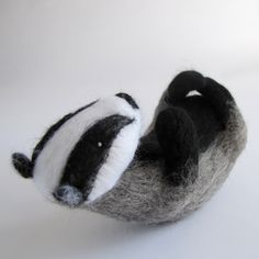 Needle Felted Badger by Stephanie Carswell www.stephaniecarswell.co.uk