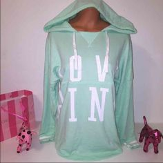 "SOLDNEW PINK VS LOVE PINK HOODED SWEATSHIRT PINK VICTORIA'S SECRET HOODIE  SWEATSHIRT HOODED WITH DRAWSTRING AND ""LOVE PINK"" IN THE FRONT.  GORGEOUS PIECE!!!  COLOR GREEN MINT/WHITE  SIZE M  FAST SHIPPING!!! PINK Victoria's Secret Tops Sweatshirts & Hoodies"