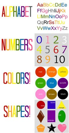 """Pages to add to a personalized ABC book! (use photos of your child for each letter of the alphabet. EX: """"K"""" for kisses), then add these pages to teach numbers, colors, shapes."""