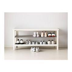 Two of these in the mud room with hooks above. TJUSIG Bench with shoe storage - white - IKEA