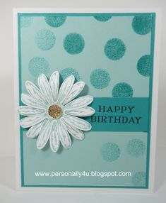 Daisy Delight, Daisy punch, xxx (sentiment), Sponge Dauber, Gold Faceted Gems - colors are: Pool Party & Bermuda Bay Bday Cards, Stamping Up Cards, Thing 1, Card Sketches, Flower Cards, Greeting Cards Handmade, Scrapbook Cards, Homemade Cards, Making Ideas