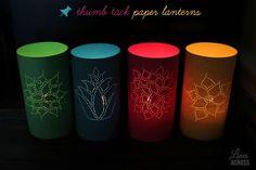 """Lines Across"": Thumb Tack Paper Lanterns. fun idea for diwali"