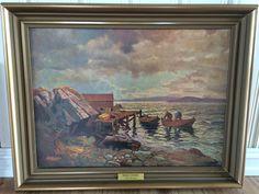 """FINN – Maleri av Reidar Steinnes """"Hjem fra fiske"""" painting"""