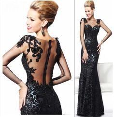 $99 27dress.com custom made 2014 Hot Sale Black Dress For Proms Long Sleeves Appliques Beadings Sweetheart Mermaid Evening Dresses