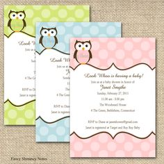 Owl baby shower invitation owl and polkadots design printable file