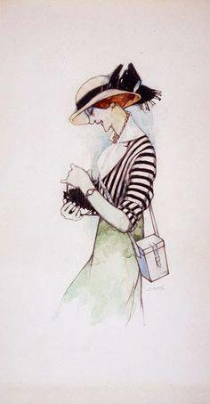 Xavier Gosé, «Dona amb càmera fotogràfica» | Exposada a «Xavier Gosé, 1876-1915. Il·lustrador de la modernitat».