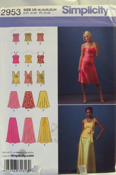 Simplicity 2953 Misses  Evening Tops and Skirts. Dress Sewing Patterns ... a0a321868