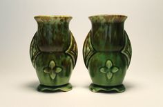 A Pair of Vintage Drip-Glazed Art Pottery Two-Handled Vases by Dearhunting on Etsy