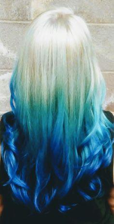 Icy blue using pravanna neon blue and pravanna blue. Blue hair, blue ombre by Jessica at Selah Salon Waco