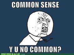 common sense isn't common! Y U NO meme LOL