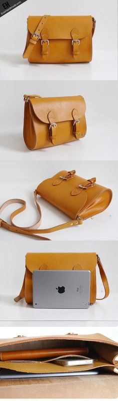 Handmade Leather satchel bag shoulder bag small yellow for women leather crossbody bag