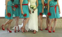 Teal/turquoise wedding and red heels. Mexican wedding