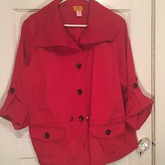 Ruby Red Jacket. 20W Ruby Red Jacket. Woman's  20W. 3/4 length sleeves that button up. Also has a cinch able cord to define the waist. Jackets & Coats