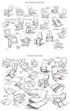 Scarlett Chair on Behance by Stefan Brown - Designmöbel - Chair Design Interior Design Sketches, Industrial Design Sketch, Sketch Design, Chair Design, Furniture Design, Design Autos, Technical Drawing, Drawing Sketches, Sketching