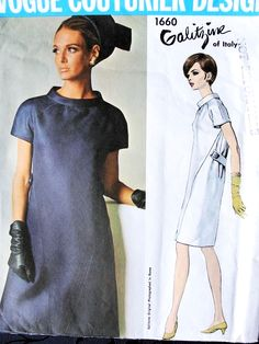 1960s LOVELY Mod GALITZINE Dress Pattern Vogue Couturier Design 1660 Daytime or Evening Cocktail Party Dress Bust 32 Vintage Sewing Pattern