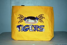 Pigtail girl TIGERS tote by KenaKreations on Etsy, $30.00