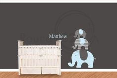 Elephants with Name Wall Decal - Carters Theme Wall Vinyl - Nursery Children Decoration. $85.00, via Etsy.