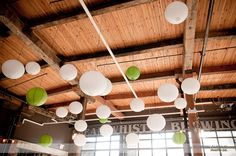 paper lanterns at Steam Whistle Brewery Toronto Skyline, Brewery Wedding, Paper Lanterns, Great View, Track Lighting, Brewing, Boston, Wedding Venues, Ceiling Lights