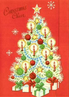 1617 best vintage christmas greeting cards one images on pinterest vintage christmas card with white decorated tree m4hsunfo