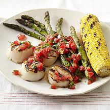 Grilled Scallops with Corn and  Asparagus.  This is a WW recipe, so I put the directions for the sauce and topping in the comments bc you have to be signed in to get the actual recipe.