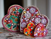 beaded heart boxes--great for Valentine's Day  themed craft program