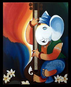 Lord Ganesha Paintings, Ganesha Art, Ganesha Rangoli, Poster Rangoli, Poster Color Painting, African Art Paintings, Art Painting Gallery, Indian Folk Art, Madhubani Painting