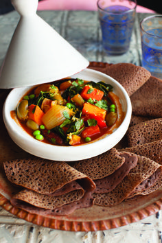 Injera and Vegetable Tagine Recipes from Robin Robertson's  Vegan Without Borders and a giveaway!